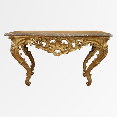 Grande console d'époque Louis XV en bois doré