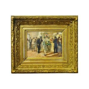 Tableau signé Marcel Cosson Au comptoir de l'Opera Garnier