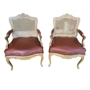 Beautiful Pair Of Cane-bottomed Armchairs From The Regency Period