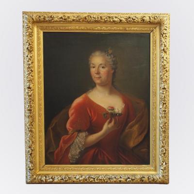 Tableau d'époque XVIIIème représentant une femme de qualité