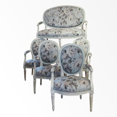 Salon composé de 4 fauteuils époque Louis XVI et un petit ca
