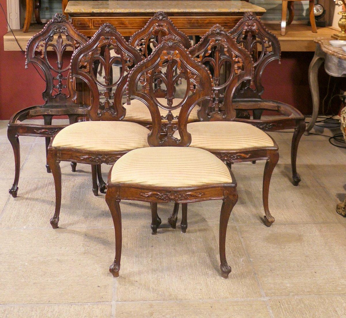 6 chaises en palissandre massif