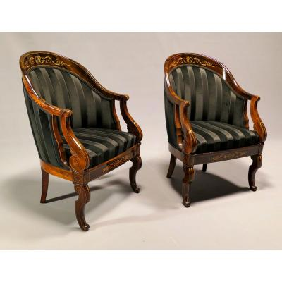 Pair Of Gondola Armchairs