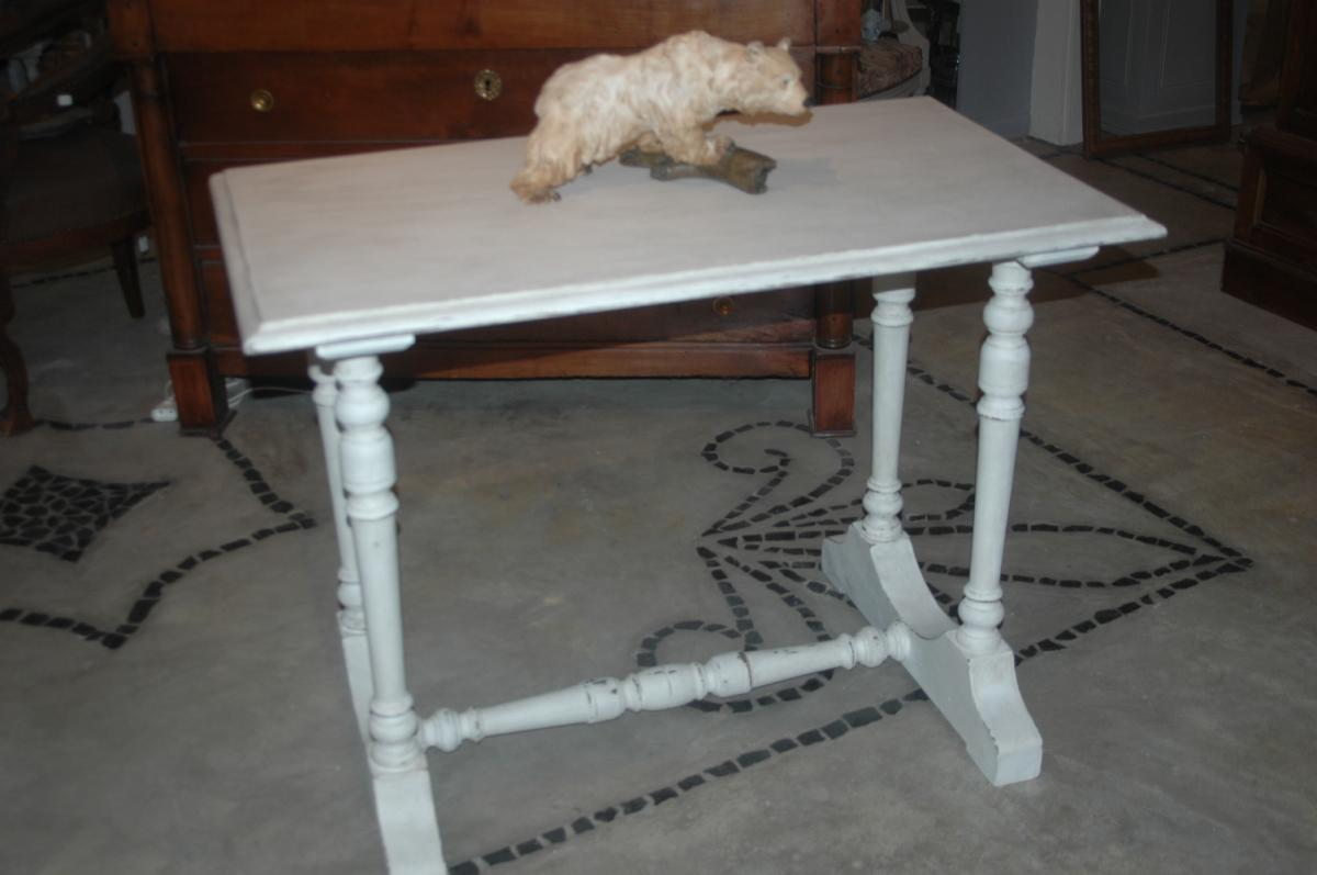 Table En Chêne Patiné Gris Gustavien XIX ème
