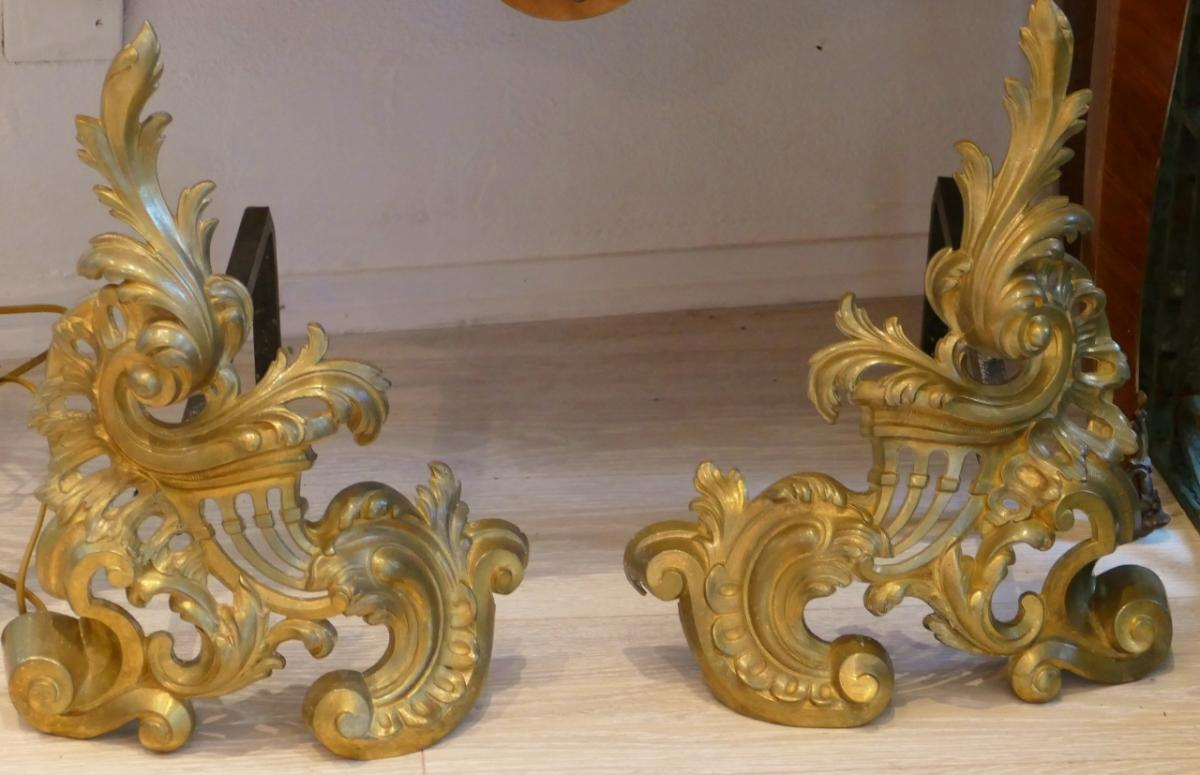 Pair Of Chenets Louis XV Rocaille Gilt Bronze, Time XIX