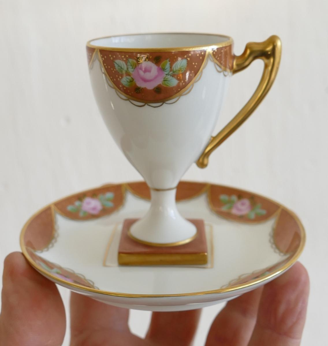 Porcelain Collection Cup Handpainted, Flowers And Gold Decor