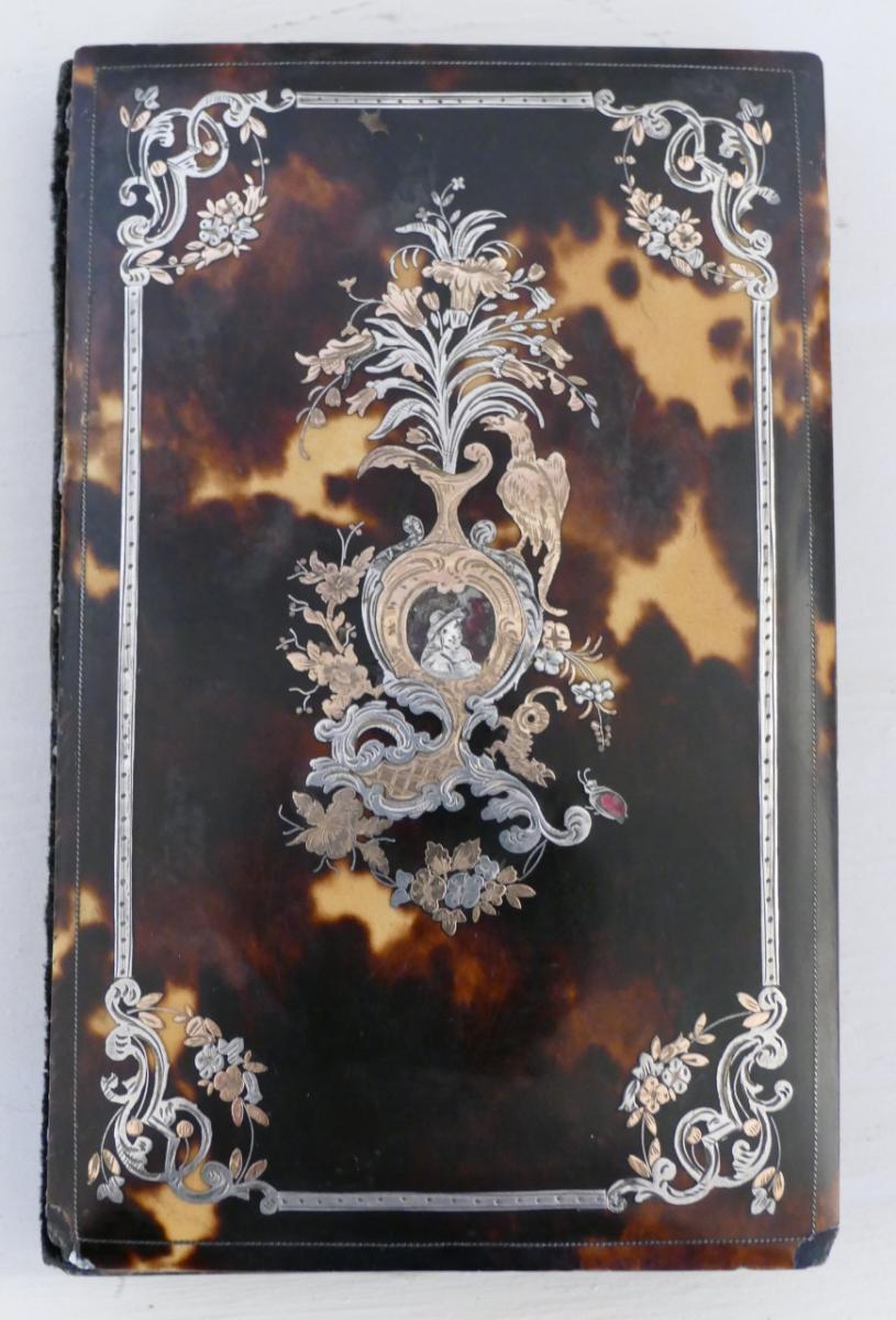 Carnet De Bal En écaille, Décor en Argent Et Or Ciselé De Fleurs, Phoenix, époque XIX ème