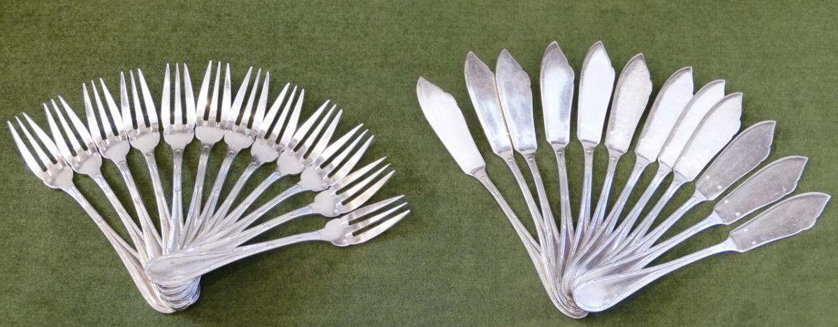 Cutlery, Fish Service Filt Ribbon Louis XVI Silver Metal