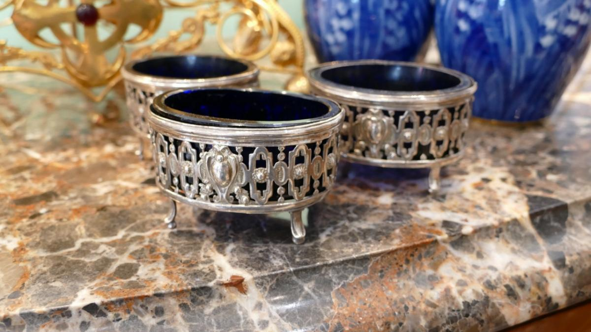 3 Saltcellars XVIII, Sterling Silver And Blue Glass Louis XVI Style