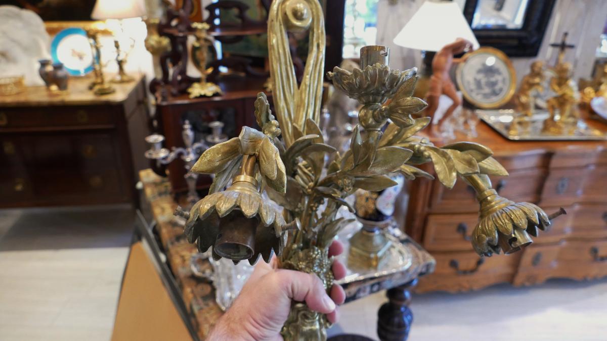 Paire De Grandes Appliques En Bronze, Dionysos, Signées Lebrun-tardieu, XIX ème -photo-2