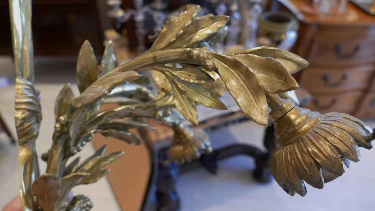 Paire De Grandes Appliques En Bronze, Dionysos, Signées Lebrun-tardieu, XIX ème -photo-1