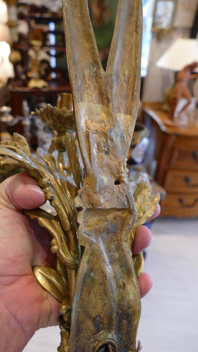 Paire De Grandes Appliques En Bronze, Dionysos, Signées Lebrun-tardieu, XIX ème -photo-4
