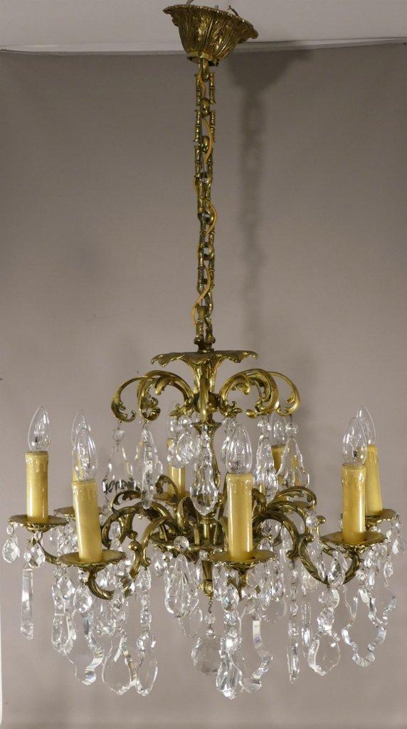 Lustre En Plaquettes De Cristal De Bohême Et Bronze, 8 Feux, époque Vers 1960