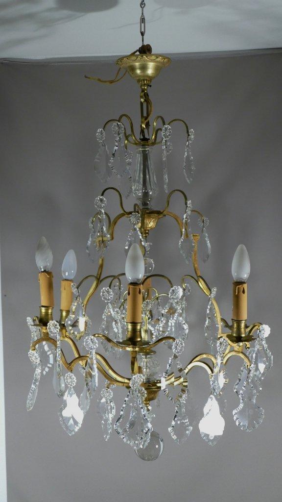 Lustre à Pampilles De Cristal Et Bronze, Forme Cage, 6 Lumières, époque Début XX ème