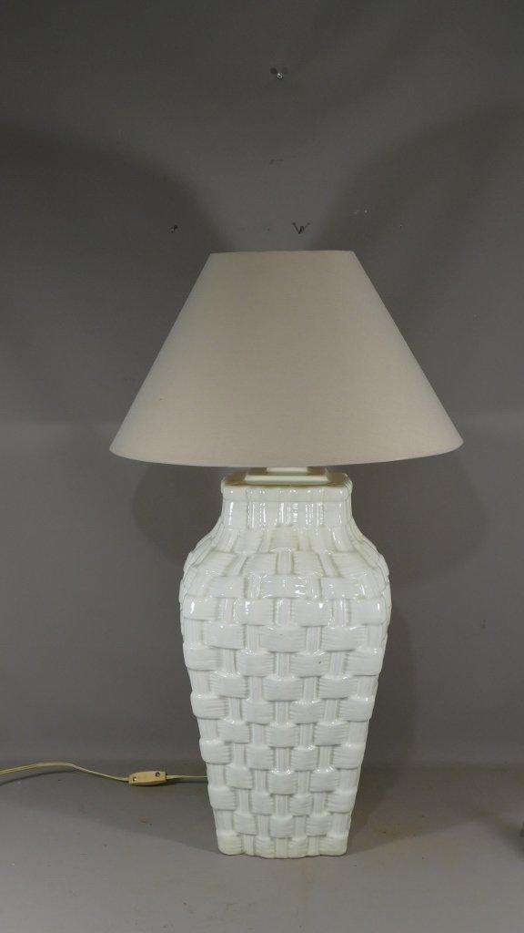 Lampe En Céramique Tressée Façon Vannerie, Design Des Années 70