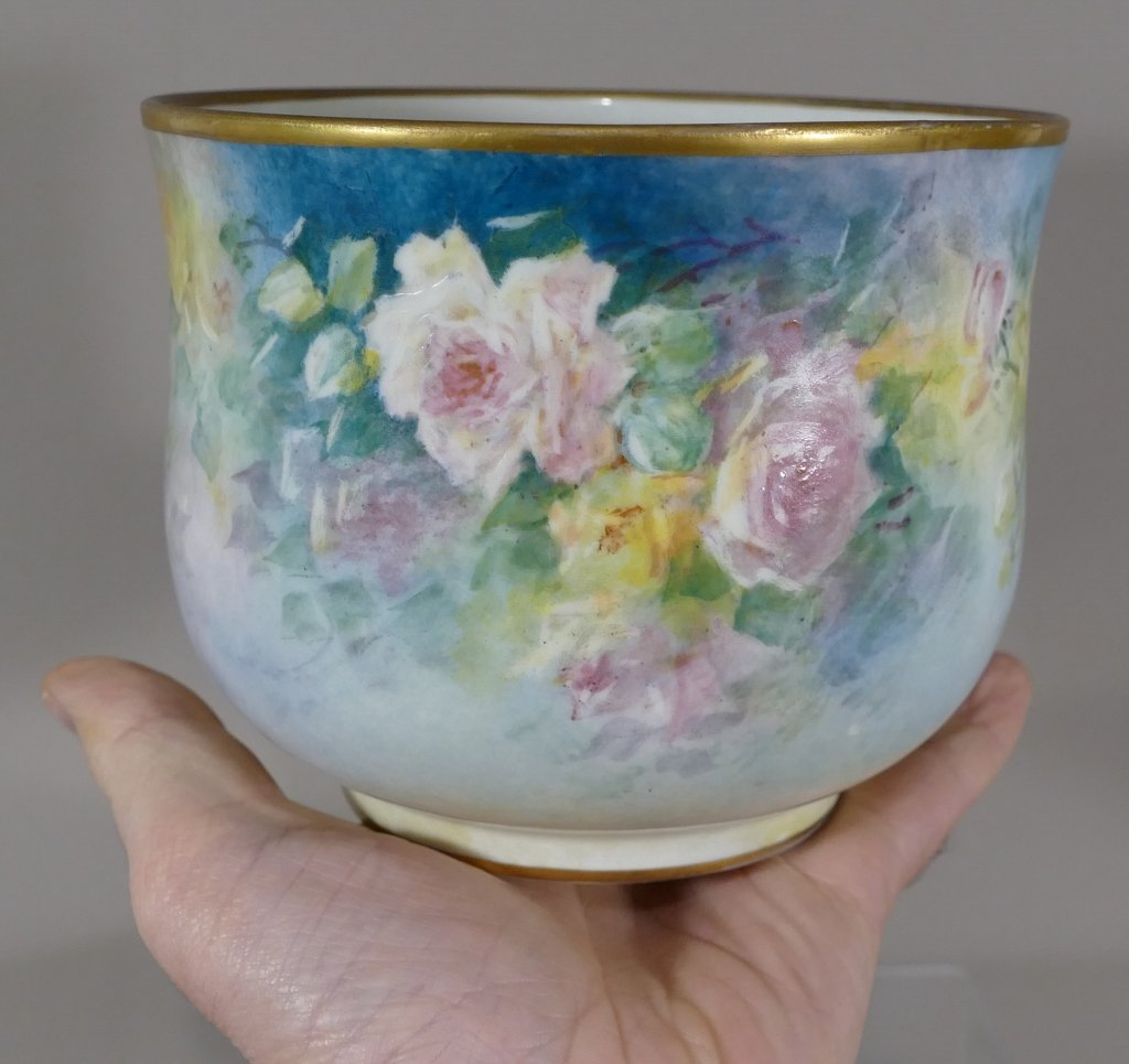 Cache Pot Aux Roses, Hand Painted Limoges Porcelain, Marcadet, Early 20th Century