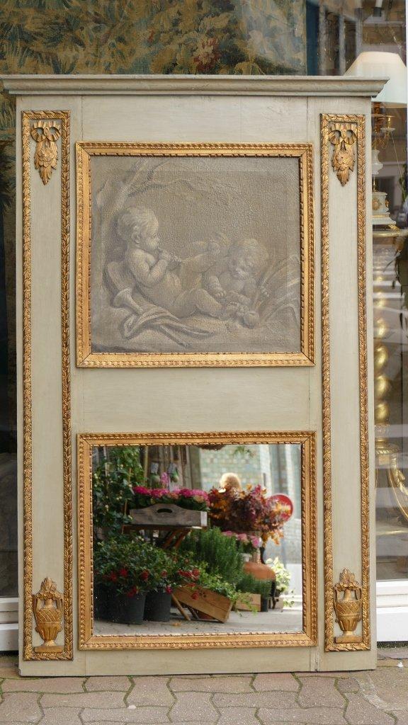 Trumeau Louis XVI, Peinture Grisaille Aux Angelots, Bois Laqué Et Doré, époque XVIII ème