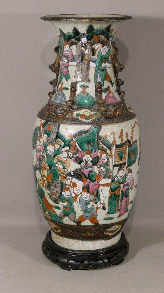 Chine, Nankin, Grand Vase En Céramique Craquelée Et émaillée De Personnages, époque XIX ème