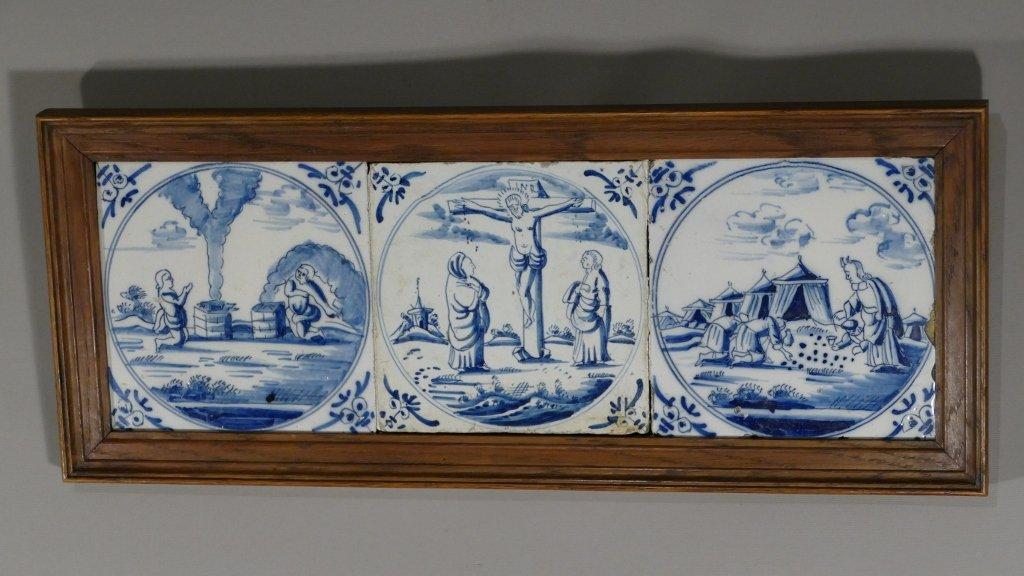 Delft XVIII ème Triptyque Religieux En Carreaux De Céramique Bleu et Blanc