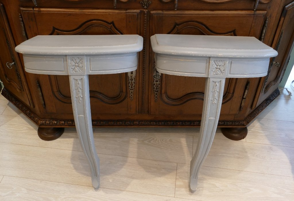 Pair Of Louis XVI Style Consoles, Ideal In Bedside Or Ends Of Sofa, Twentieth Time