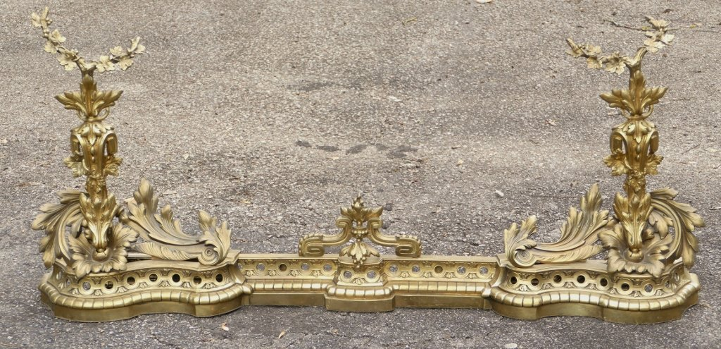 H 53 Cm !! Important Fireplace Front, Napoleon III Andirons In Gilt Bronze