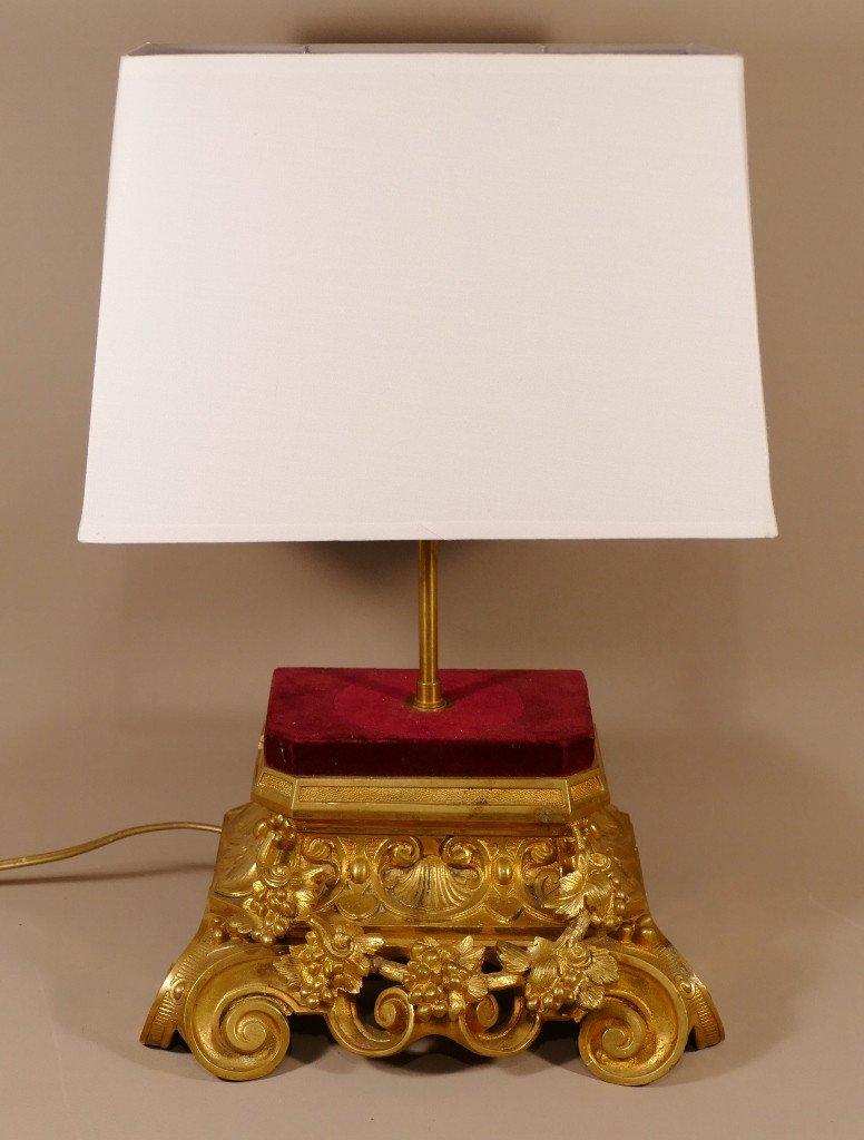 Lampe En Bronze Doré Napoléon III Aux Pampres De Vigne, époque XIX ème