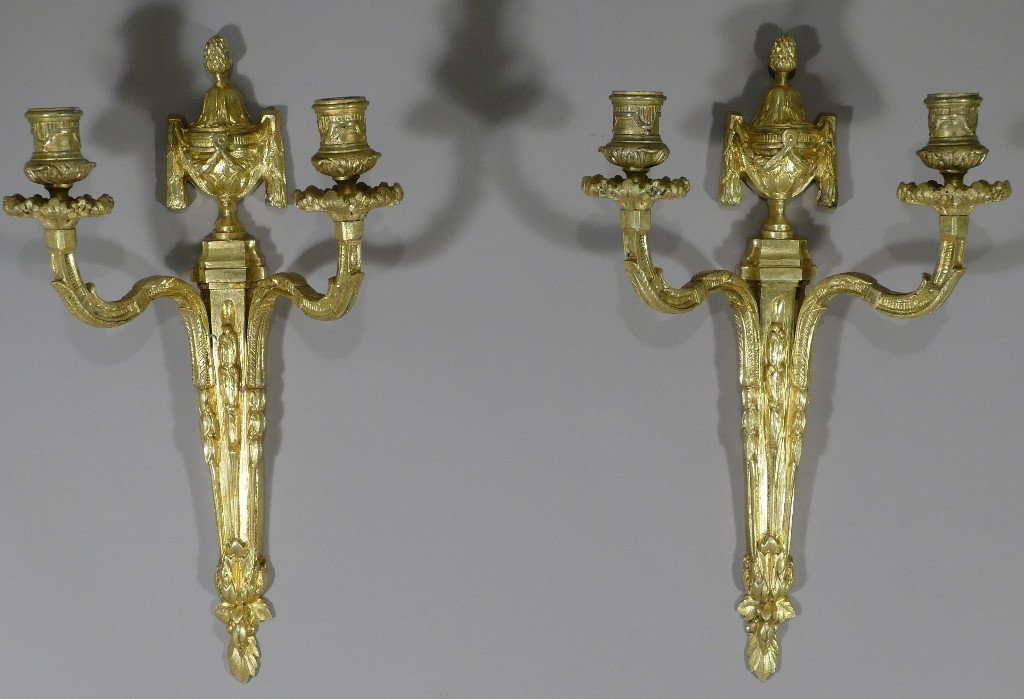 Pair Of Louis XVI Gilt Bronze Wall Lights, Early Twentieth Time