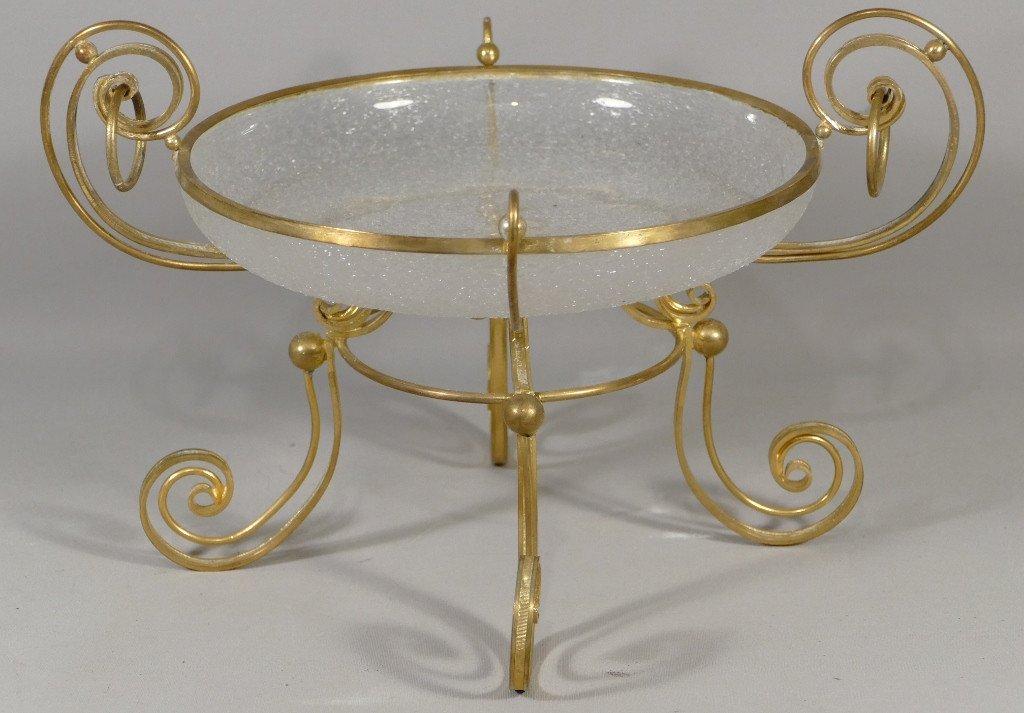Coupe Centre De Table En Verre Granité Et Bronze Doré, époque Napoléon III