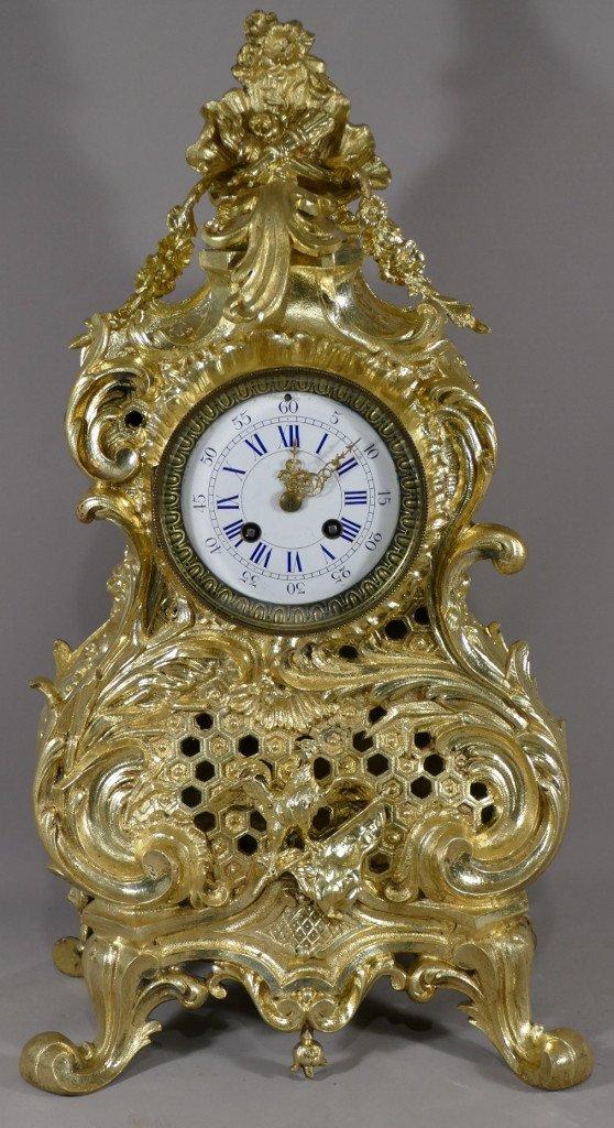 Grande Pendule Louis XV Rocaille Au Coq Et Drapeau, Bronze Doré époque XIX ème