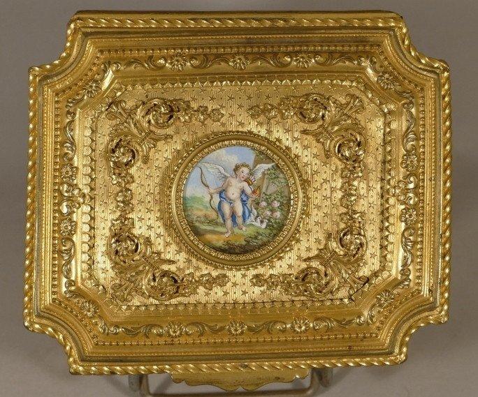Boîte Coffret Bronze Doré Ciselé Et Guilloché,  Miniature Sur Ivoire Angelot, Début XIX ème