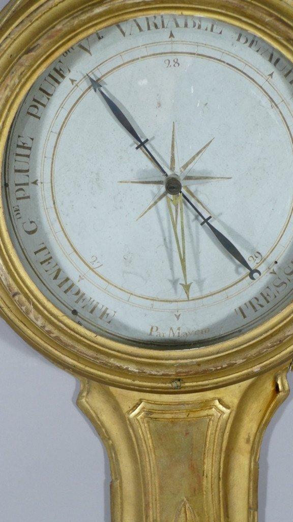 Baromètre Thermomètre Louis XVI En Bois Doré Par Mavero, époque XVIII ème Siècle-photo-1
