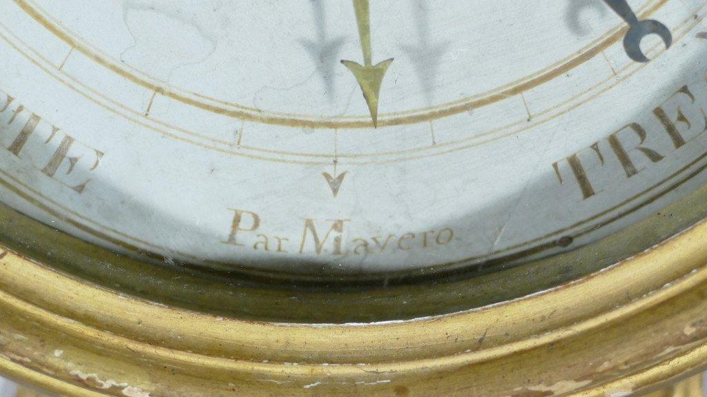 Baromètre Thermomètre Louis XVI En Bois Doré Par Mavero, époque XVIII ème Siècle-photo-2