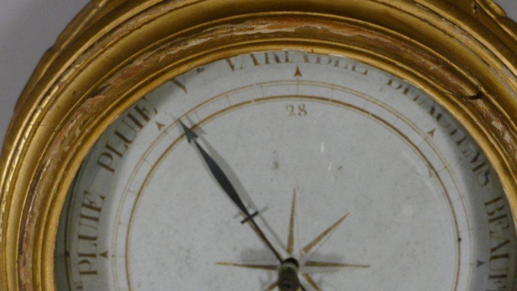 Baromètre Thermomètre Louis XVI En Bois Doré Par Mavero, époque XVIII ème Siècle-photo-4