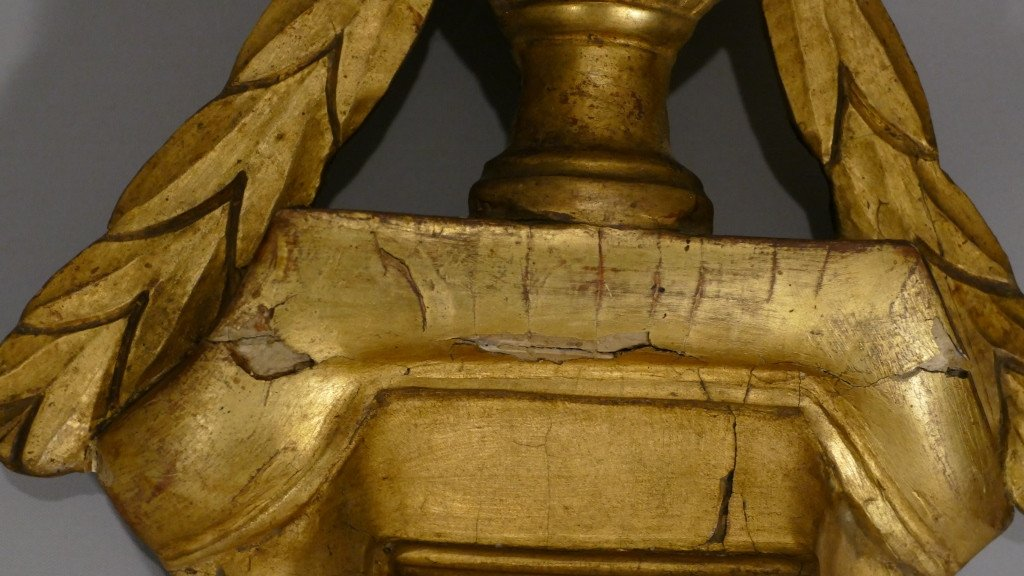 Baromètre Thermomètre Louis XVI En Bois Doré Par Mavero, époque XVIII ème Siècle-photo-5