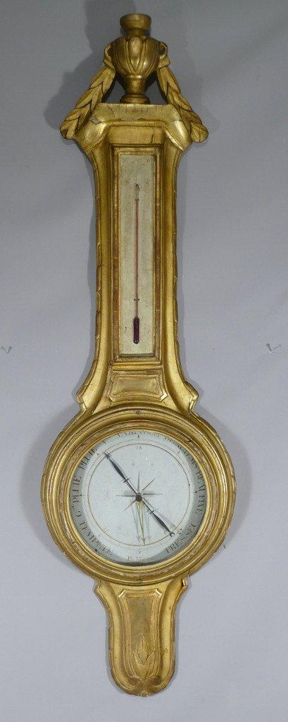 Baromètre Thermomètre Louis XVI En Bois Doré Par Mavero, époque XVIII ème Siècle