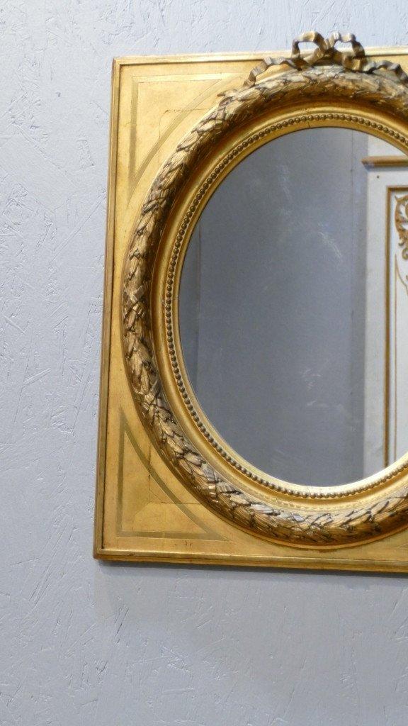 Maison Souty, Cadre Miroir En Bois Doré Forme Médaillon Style Louis XVI, XIX ème-photo-3