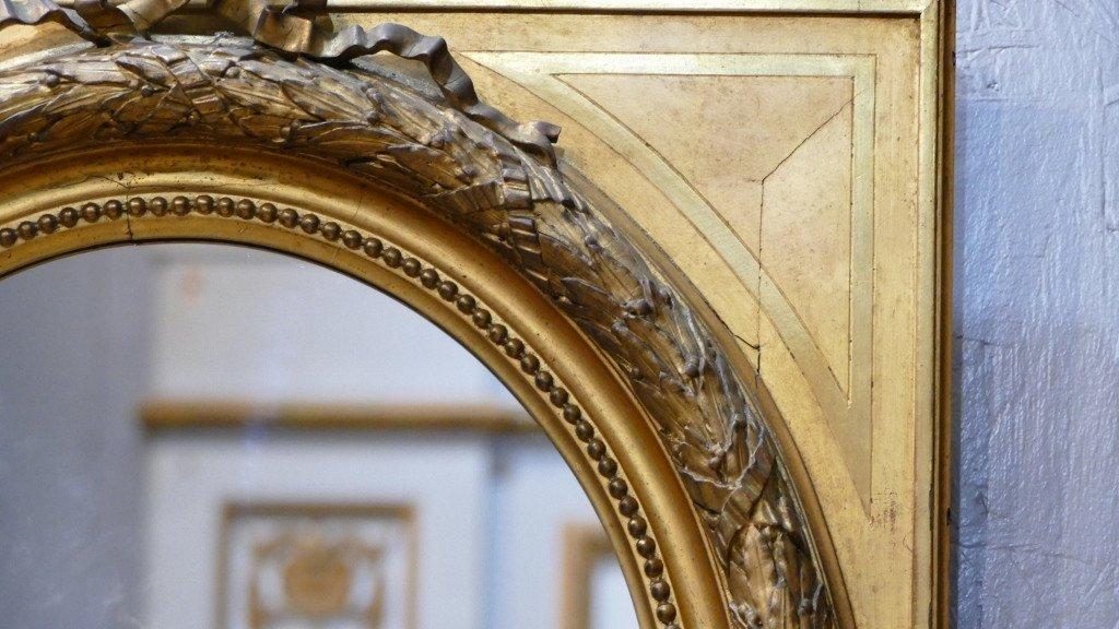 Maison Souty, Cadre Miroir En Bois Doré Forme Médaillon Style Louis XVI, XIX ème-photo-1
