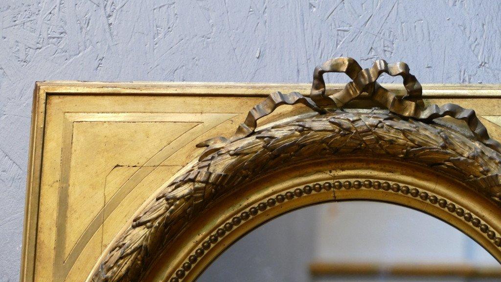 Maison Souty, Cadre Miroir En Bois Doré Forme Médaillon Style Louis XVI, XIX ème-photo-2