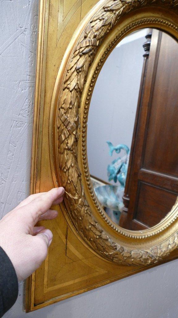 Maison Souty, Cadre Miroir En Bois Doré Forme Médaillon Style Louis XVI, XIX ème-photo-4