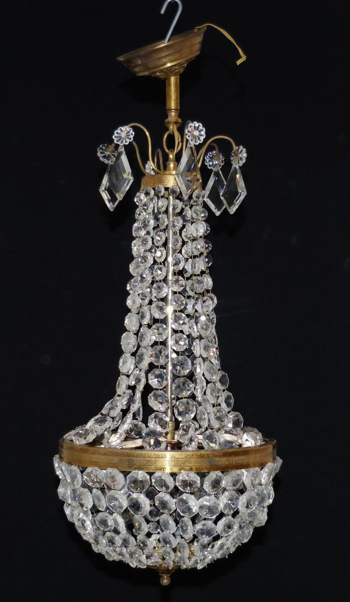 Lustre Louis XVI, Montgolfière, Corbeille, Laiton Et Pampilles, XX ème