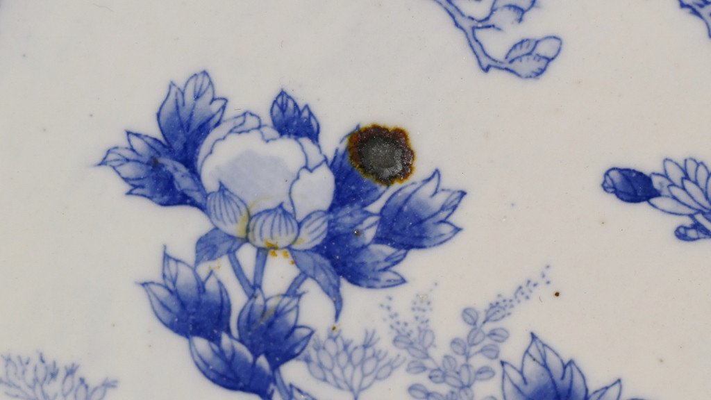 Chine fin XVIII ème Siècle, Grand Plat Style Kraak au paon En Porcelaine Blanc Bleu-photo-1
