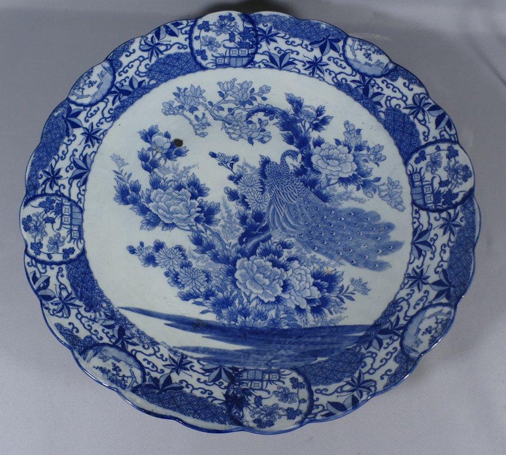 Chine fin XVIII ème Siècle, Grand Plat Style Kraak au paon En Porcelaine Blanc Bleu-photo-6