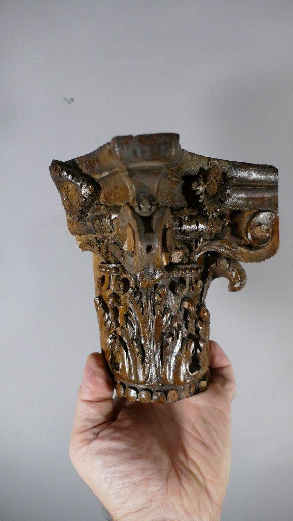 Chapiteau Corinthien En Chêne Sculpté Dans Le Goût Du XVIII ème, Console d'Applique-photo-4