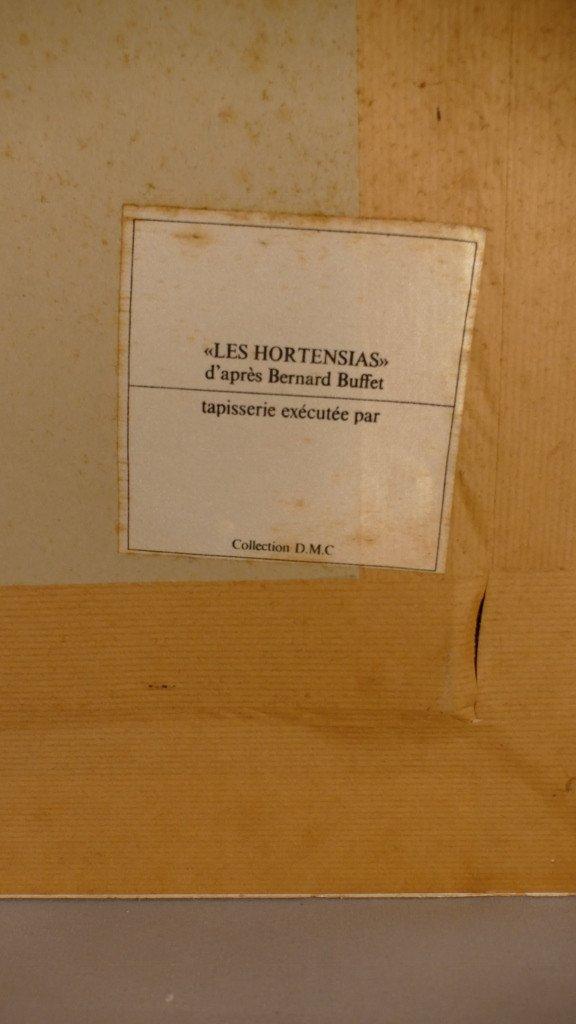 d' Après Bernard Buffet, Les Hortensias, Tapisserie En Laine Tuftée Main, Dmc 1977-photo-7