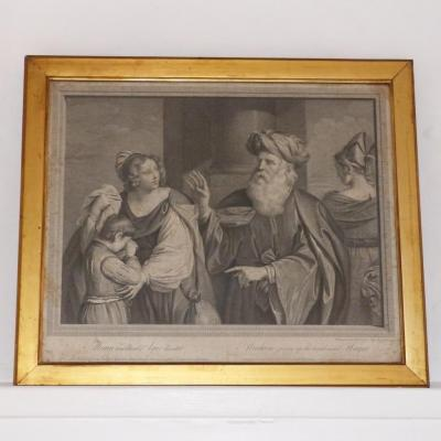 Gravure XVIII ème, Abraham Giving Up The Hand Maid Hagar, Datée 1767