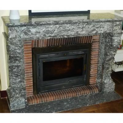 Marble Fireplace, Empire Style, Back From Egypt, Marble Grey Veined White, Nineteenth Time