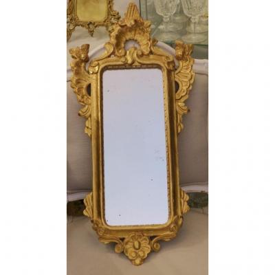 Miroir d'Entre Deux En Bois Sculpté Et Doré, Fin XIX ème