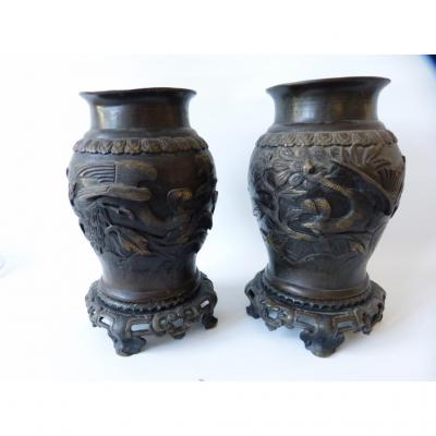 Paire De Vases Chinois Aux Phoenix, Bronze, époque XIX ème