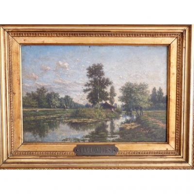 Jan Van Lokhorst, l'Ile, Environs d'Utrecht, Huile Sur Bois Et Cadre Doré XIX ème