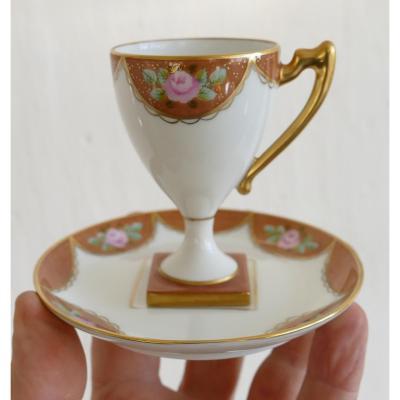 Tasse De Collection En Porcelaine Peinte à La Main, Décor Fleurs Et Or